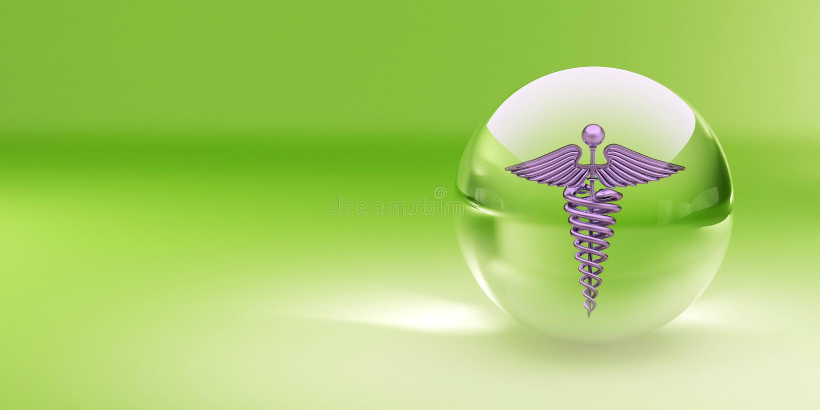 Symbol of medicine in glass sphere royalty free illustration