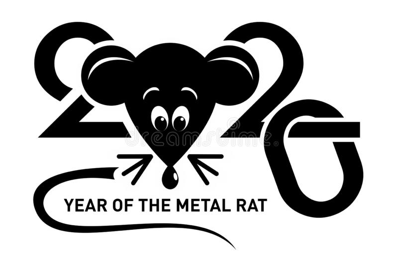 2020 symbol - metal rat or mouse. Template of the image of the symbol of the year 2020. A funny rat or mouse with a long tail. Mice, illustration, vector vector illustration