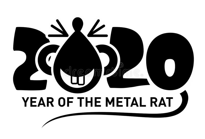 2020 symbol - metal rat or mouse. Template of the image of the symbol of the year 2020. A funny rat or mouse with a long tail. Mice, illustration, vector royalty free illustration