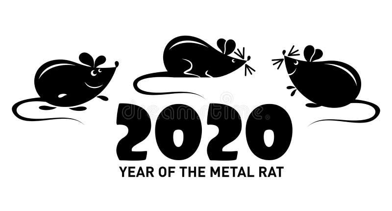 symbol 2020 - metall tjaller eller musen stock illustrationer