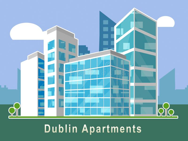 Symbol mieszkań w Dublinie przedstawia irlandzkie zakupy nieruchomości Condo — ilustracja 3d ilustracji