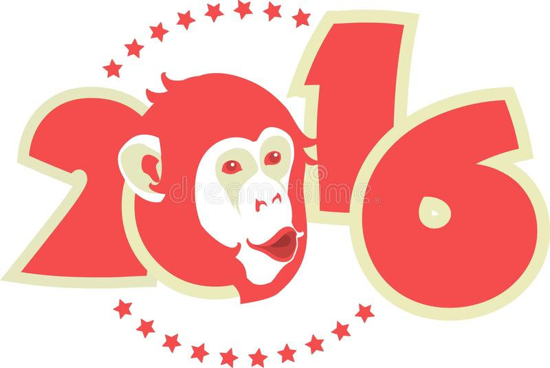 Symbol 2016 monkey. Symbol of year on Chinese calendar monkey in red on figures of the year royalty free illustration
