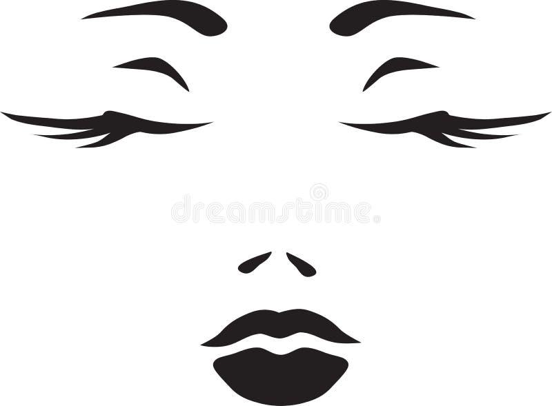 Symbol monochromatic twarz kobieta royalty ilustracja