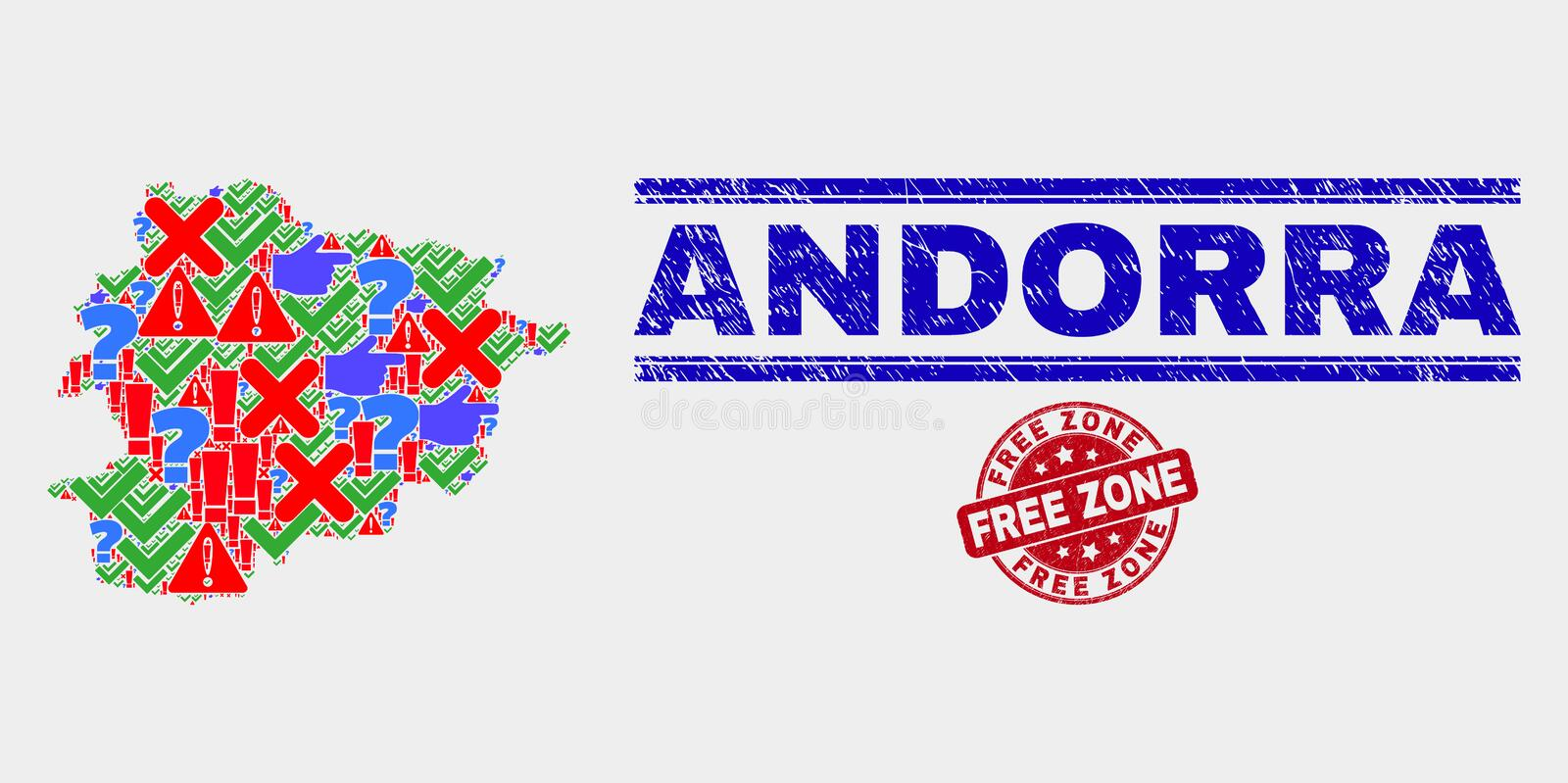 Composition of Andorra Map Sign Mosaic and Grunge Free Zone Stamp. Symbol Mosaic Andorra map and seal stamps. Red rounded Free Zone scratched seal. Bright stock illustration