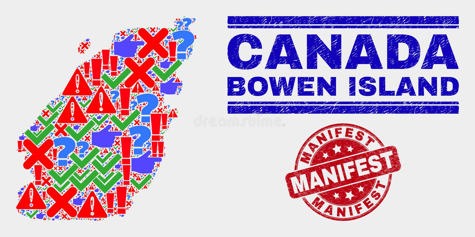 Collage of Bowen Island Map Symbol Mosaic and Grunge Manifest Watermark. Symbol Mosaic Bowen Island map and seal stamps. Red round Manifest scratched seal royalty free illustration