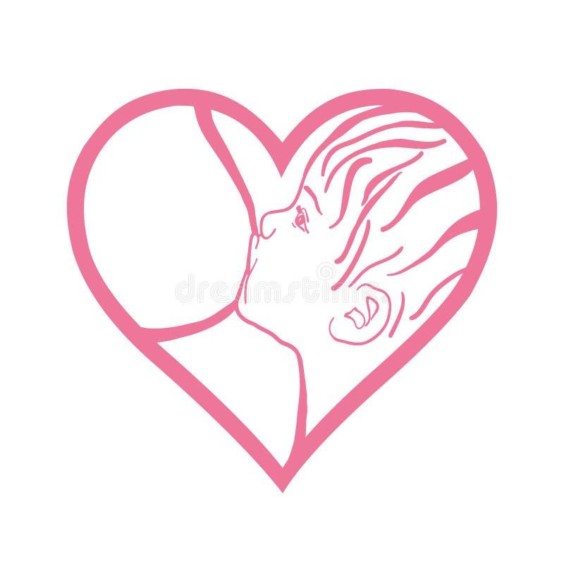 Symbol of mother breastfeeding baby, woman feeding newborn baby royalty free illustration