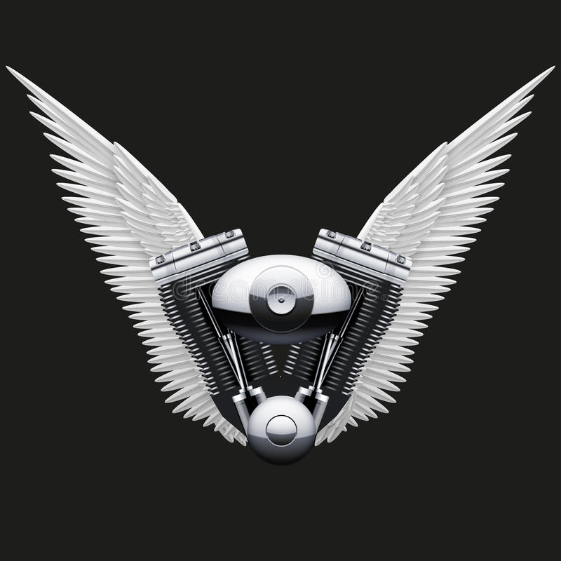 Symbol Of Motorcycle Engine With White Open Wings Stock Vector