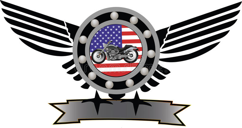Symbol motorcycling. Biker gear symbol with American flag and mechanical motion vector illustration