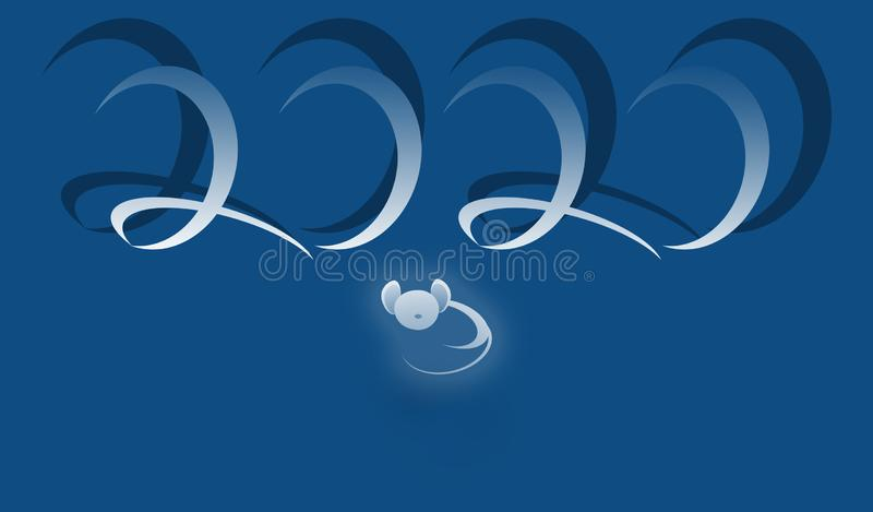 Symbol of mouse with numbers 2020. New year concept illustration stock images
