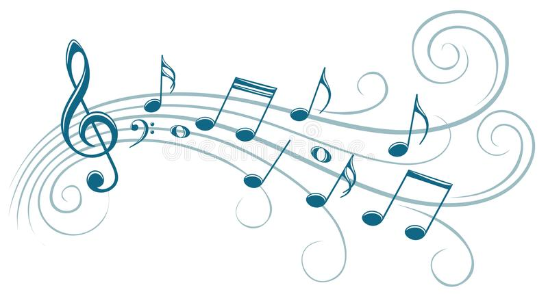 Symbol with music notes. The stylized blue symbol with music notes vector illustration