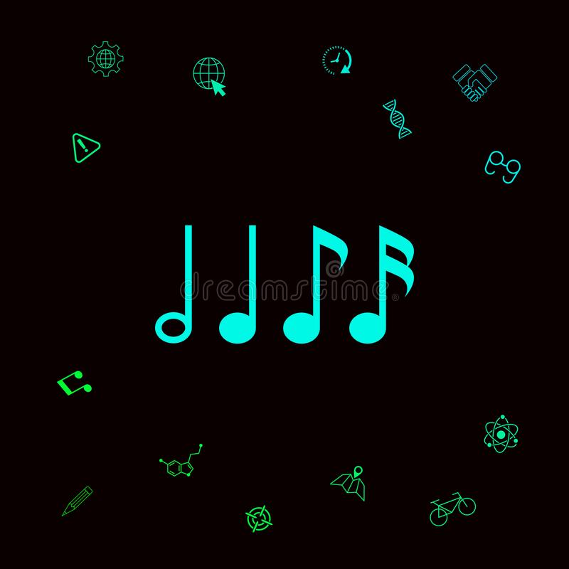 Symbol muzyka, notatki Sixteenth notatka, Eighth notatka, kwartalna notatka i przyrodnia notatka, Graficzni elementy dla twój des royalty ilustracja