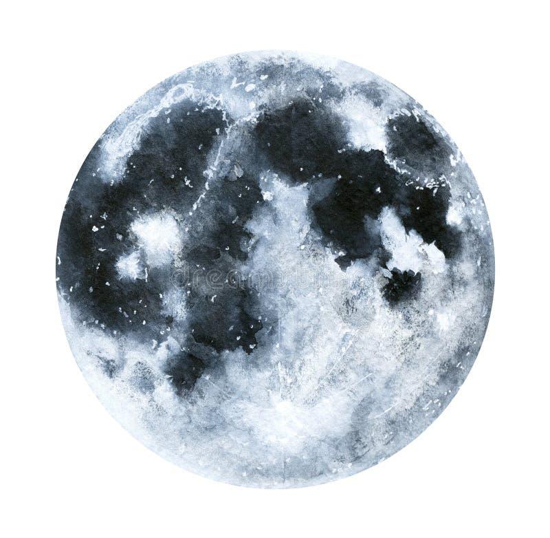 Big watercolor moon illustration. stock illustration