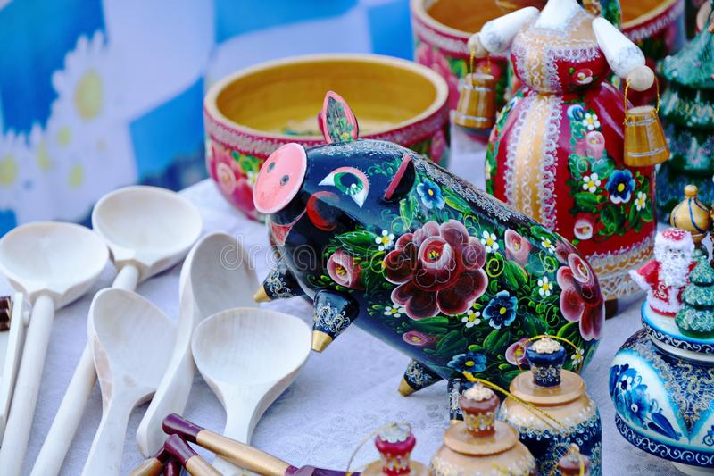Symbol of Christmas new year pig, Souvenirs. Symbol of the new year Christmas pig, Souvenirs street trade fairs holidays royalty free stock images