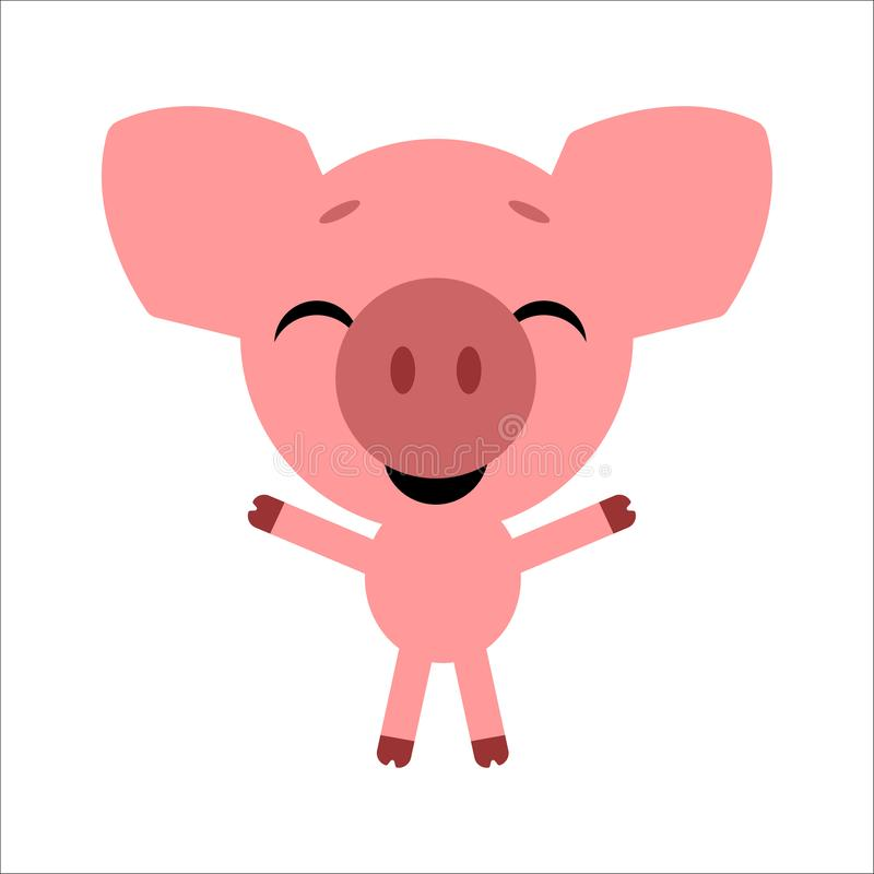 Symbol of 2019. Cute vector pig. Cartoon happy character. White background. Flat design. Vector. royalty free illustration