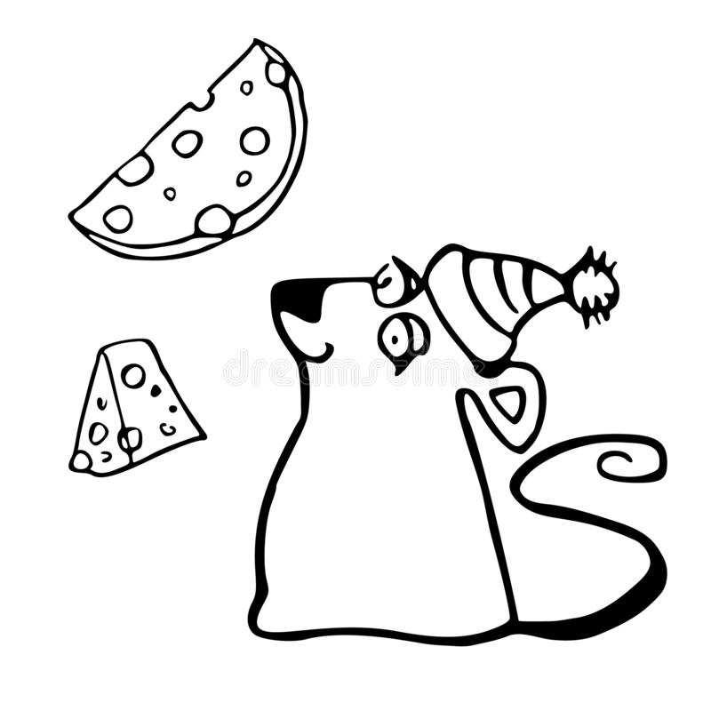 The symbol of the New Year 2020 is a rat. A happy mouse in a winter hat looks at the cheese. Hand drawn New Years vector illustration