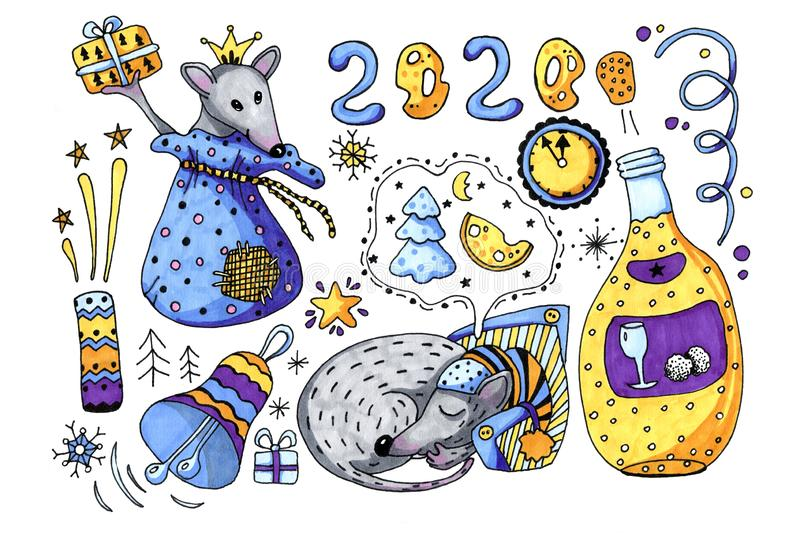 Symbol of the New Year 2020 is a rat, the mouse sleeps and dreams on New Year`s Eve and gives gifts. Hand drawing stock photography