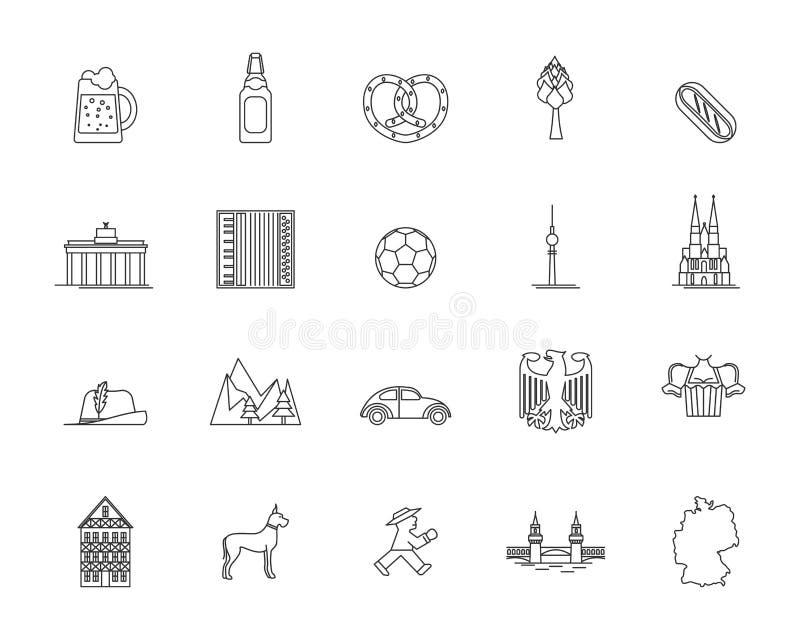 Symbol Niemcy ikony Cienki Kreskowy set wektor ilustracja wektor