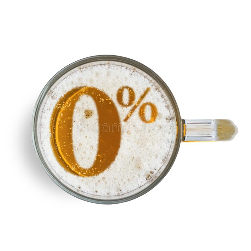 Symbol non alcoholic beer on the beer foam in glass isolated on white background. Top view.  stock photos