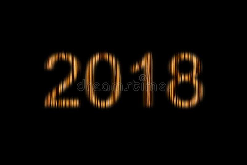 Symbol nowy rok boże narodzenia 2018, rozjarzone beżowe kolor żółty postacie dwa tysiące i osiemnaście drewniana tekstura rzeźbił zdjęcia royalty free