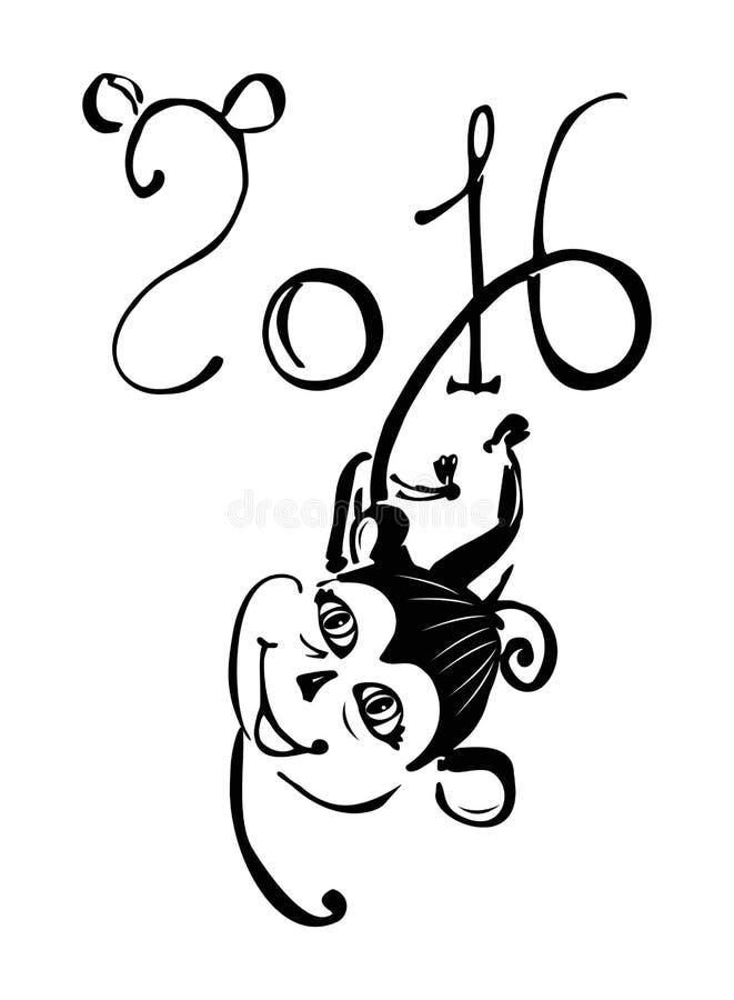 Symbol nowy rok 2016 małpi obwieszenie ilustracji