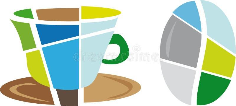 Symbol och bönor för logocaffeelogo stock illustrationer