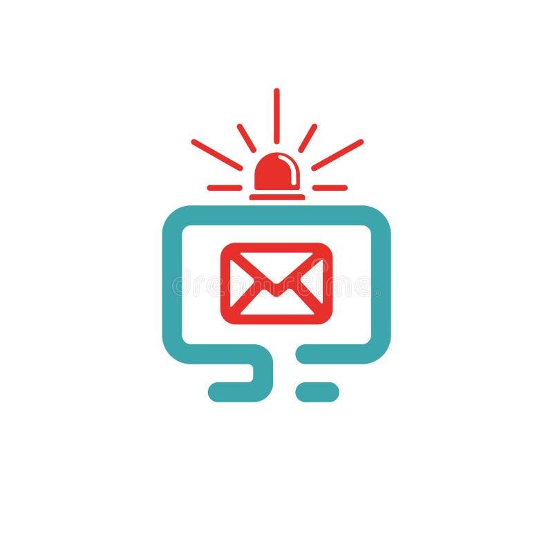 Symbol och post för nöd- signal på PCskärmen vektor illustrationer