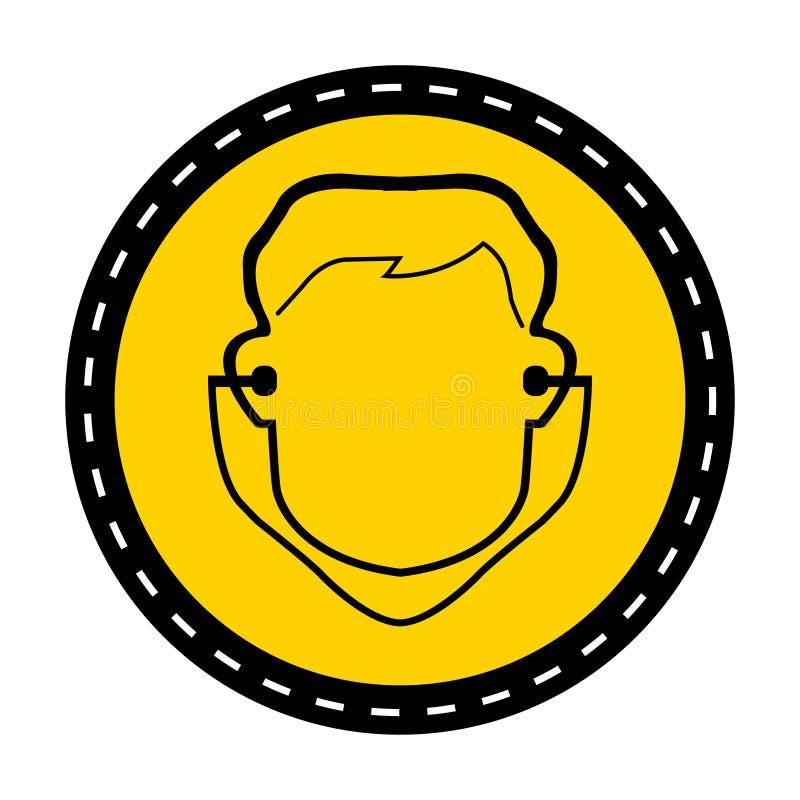 Symbol odzieży ucho prymki znak na białym tle, wektorowa ilustracja ilustracji