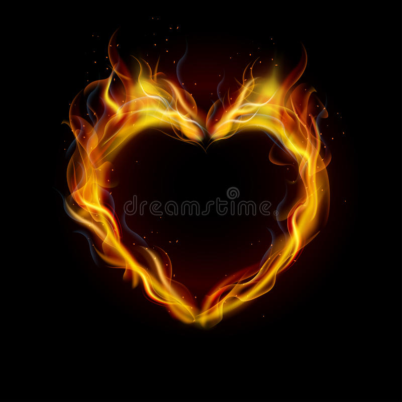 Free Symbol Of Love Ring Of Fire With Black Background Royalty Free Stock Photography - 58726897