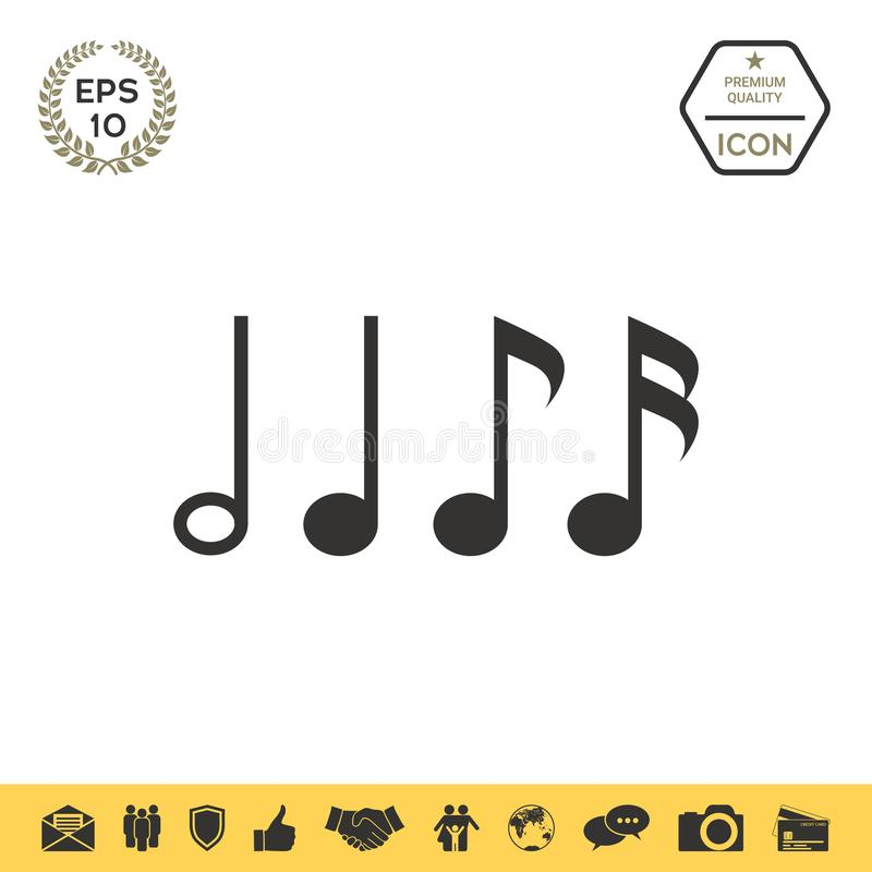 Free Symbol Of Music, Notes. Sixteenth Note, Eighth Note, Quarter Note And Half Note Stock Photography - 116417422