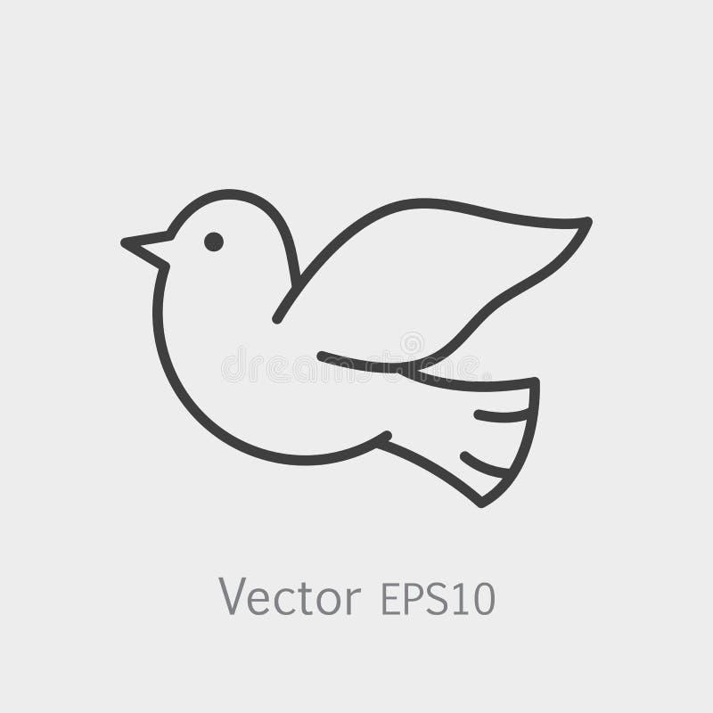Symbol Of Peace Dove Thin Line Icon Stroke Pictogram Graphic For