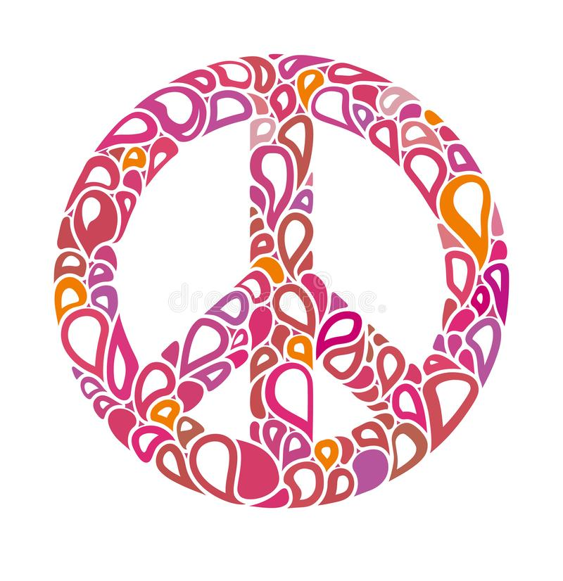 Symbol of peace. Peace sign consists of bright bubbles. royalty free illustration