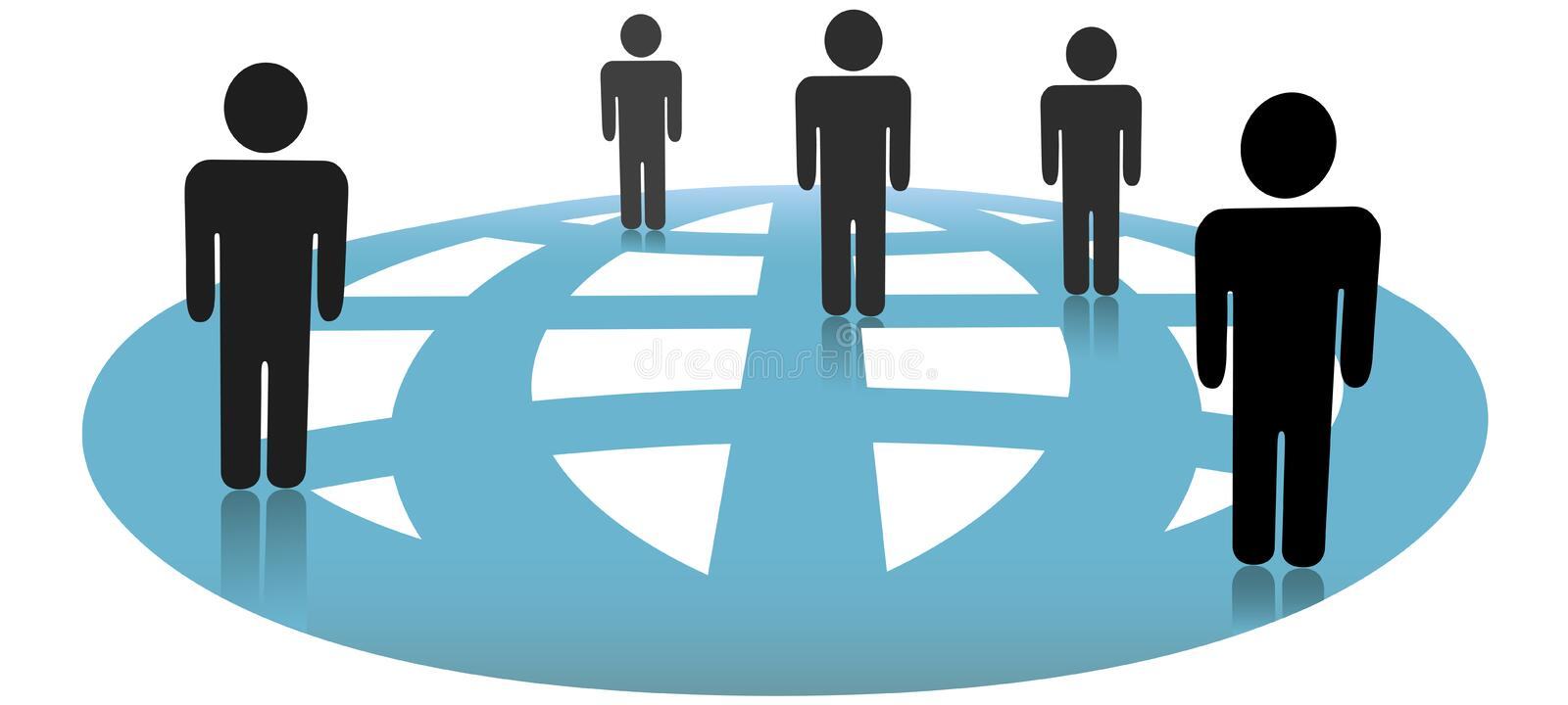 Symbol People Connections on Blue Globe Network vector illustration