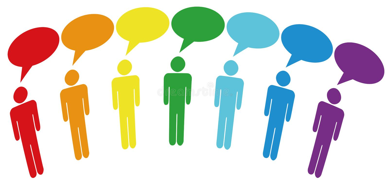 Symbol People in Media Social Network. Vector illustration of group speak. Social network media people talk together in communication speech bubbles stock illustration
