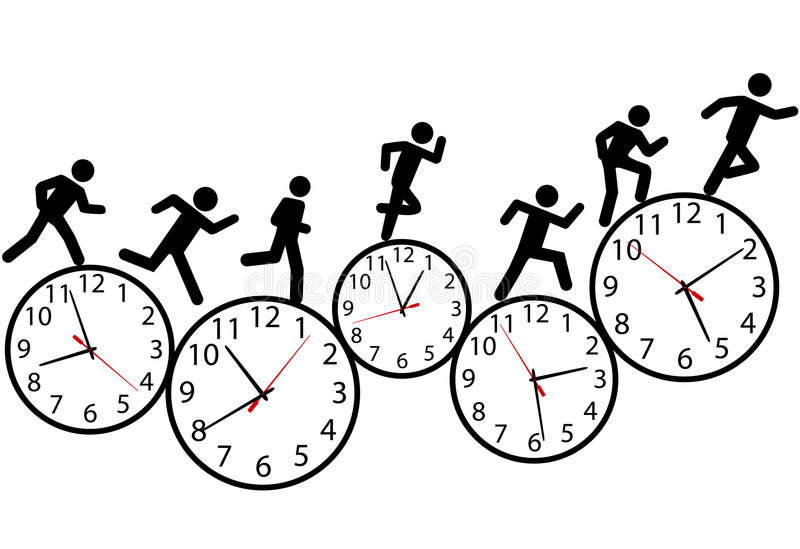Symbol people run a race in time on clocks vector illustration