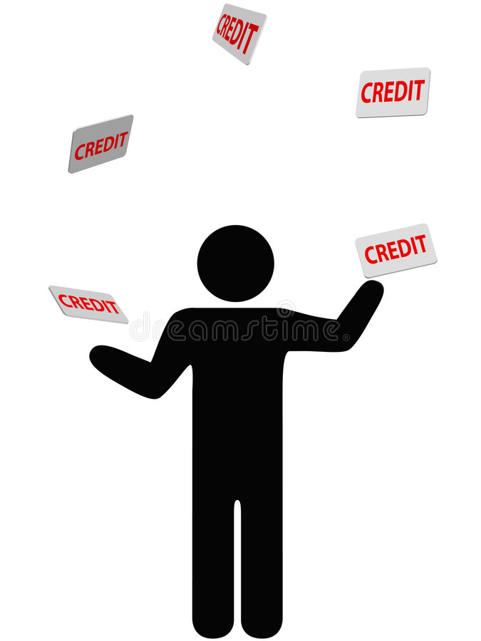 Symbol person juggles finances credit card debt. A symbol person juggles credit cards, debt, and personal finances credit card stock illustration
