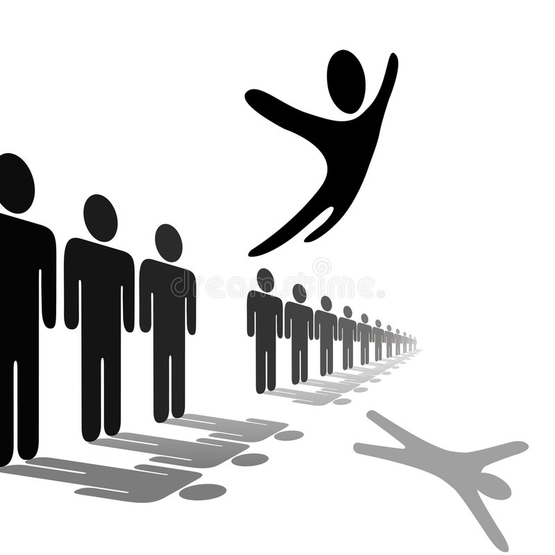 Symbol Person Leaps Out of Line Soars Above People. A symbol person out from the crowd and flies above a line of people. Jump for joy, escape, or celebration stock illustration