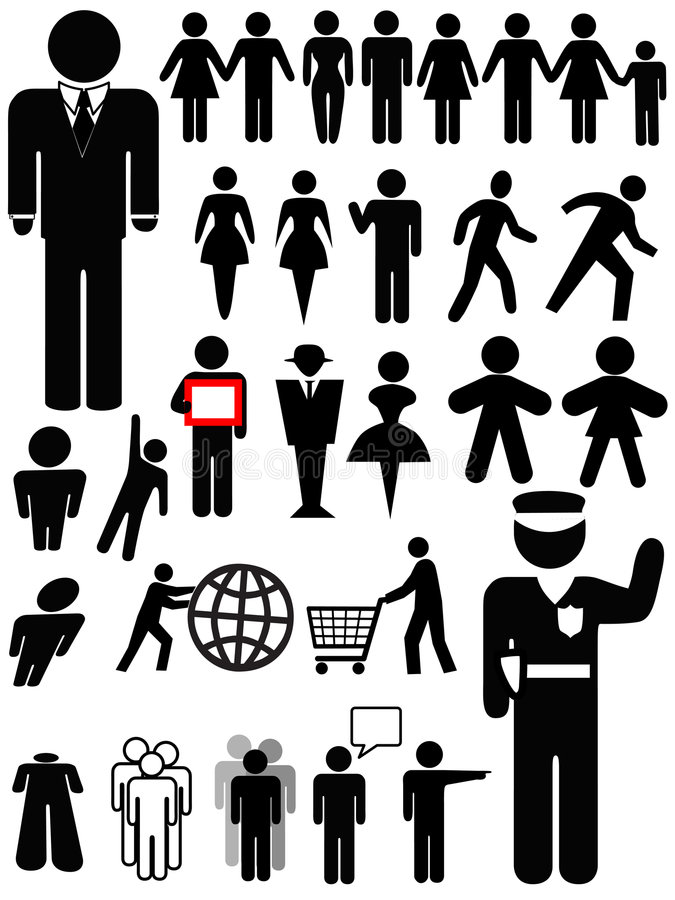 Symbol Person Silhouette Set Royalty Free Stock Photo