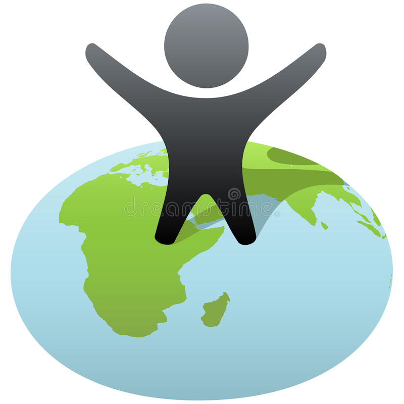 Symbol person stands on globe to celebrate success. Everybody wants to rule the world! Symbol person stands on globe to celebrate global success, victory stock illustration