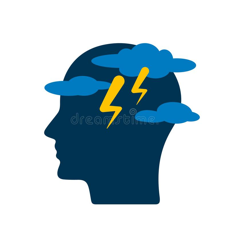 Symbol of a person suffering from weather conditions and mental disorders. flat vector illustration isolated. On white background stock illustration