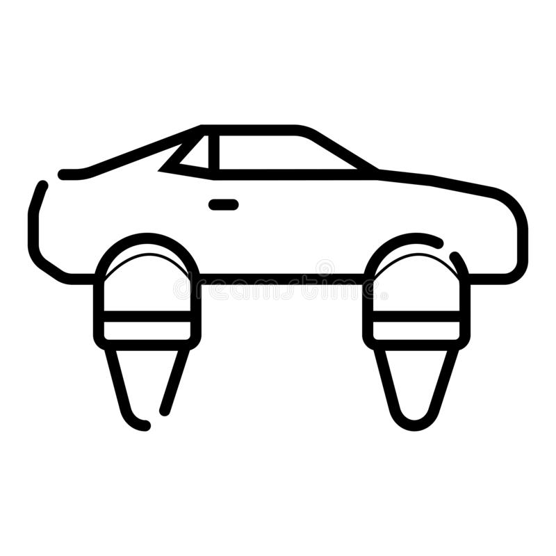 Symbol of Personal Hovercar Thin line Icon of Future Technology. Stroke Pictogram Graphic for Web Design. Quality Outline Vector vector illustration