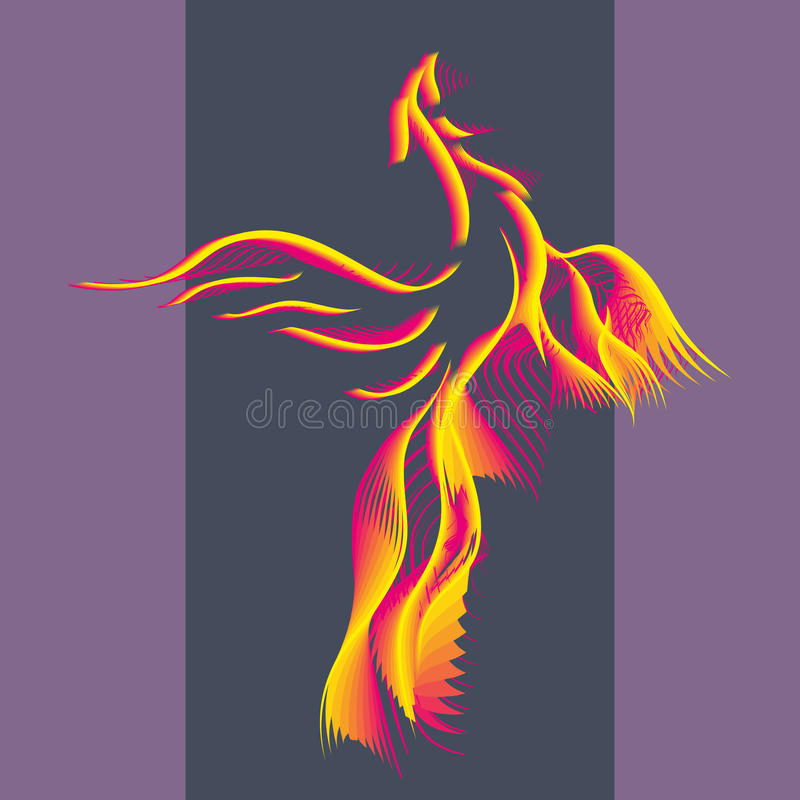Symbol Phoenix bird. Phoenix bird rising from the ashes. Flaming Magic Fairy Bird.Flying Phoenix as abstract logo, symbol of rebirth. Luxury creative Logotype stock illustration
