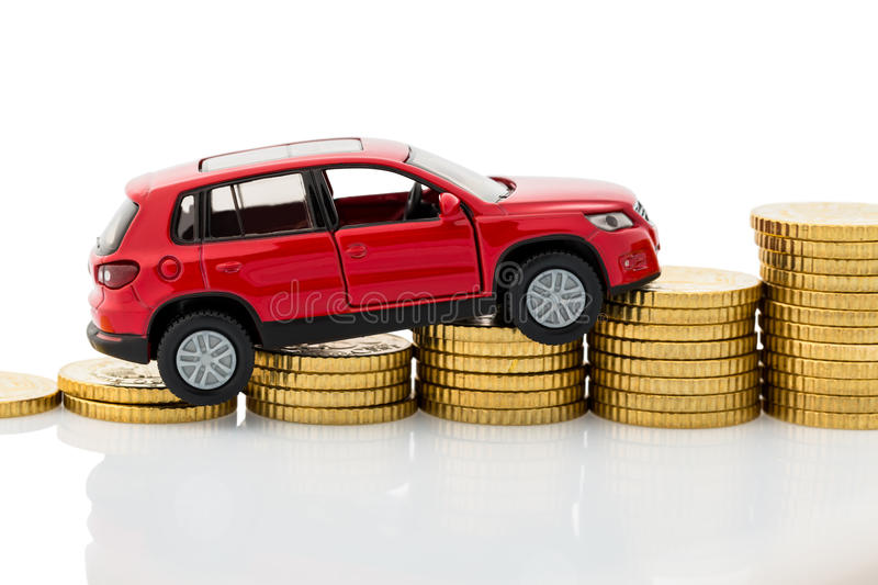 Symbol photo car costs. Photo icon for car costs and price rises while driving royalty free stock photo