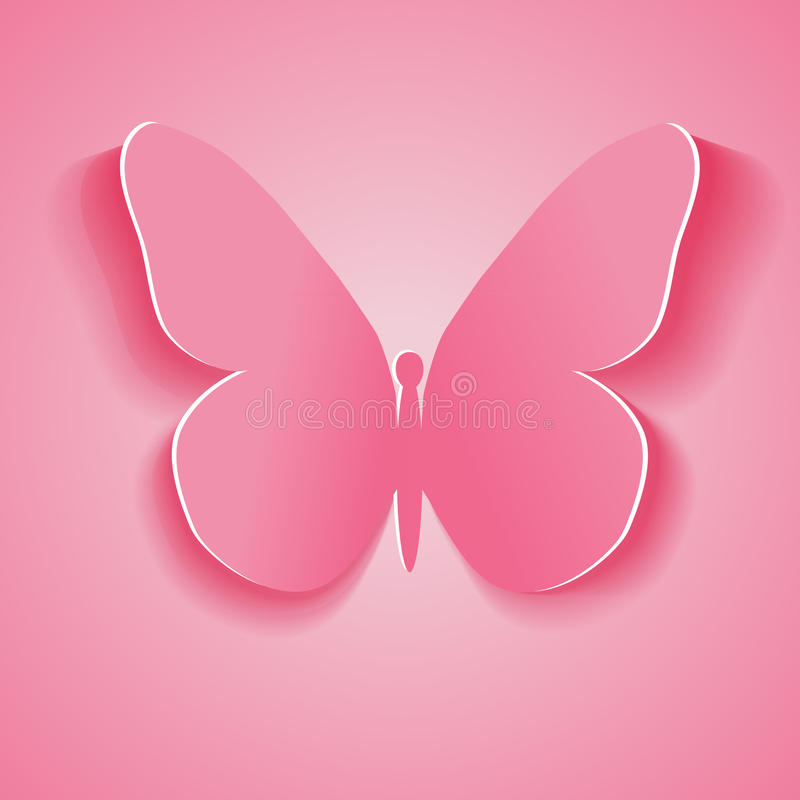 Symbol pink butterfly cut out of paper. Vector illustration/ Eps10 stock illustration