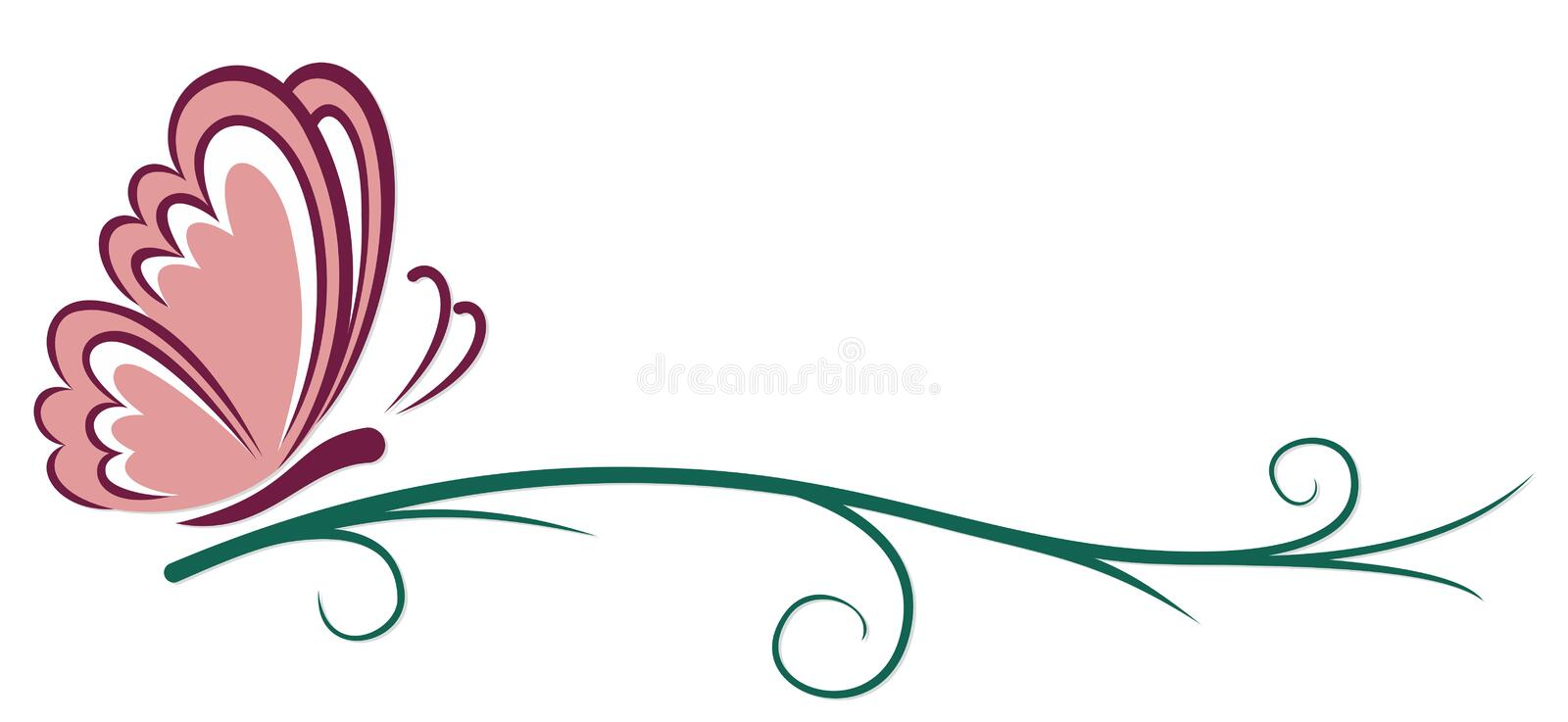 Symbol of pink butterfly. A symbol of a pink butterfly with a plant vector illustration