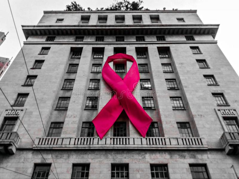 Symbol of the Pink October. Facade of the prefecture of São Paulo exposes the symbol of the campaign as a form of awareness royalty free stock photo