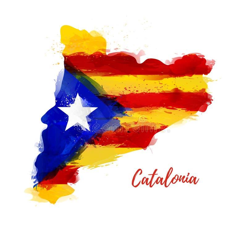 Symbol, Plakat, Fahne Katalonien Karte von Katalonien lizenzfreie abbildung