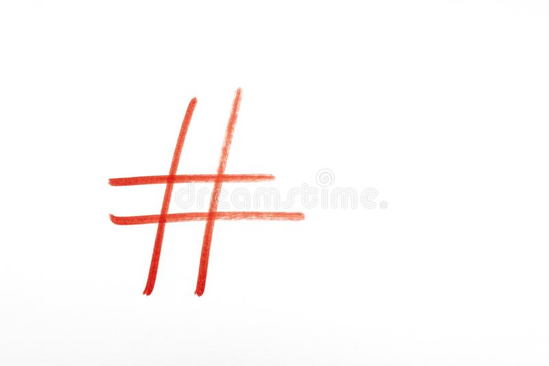 The symbol of the pound sign. On a white surface stock images