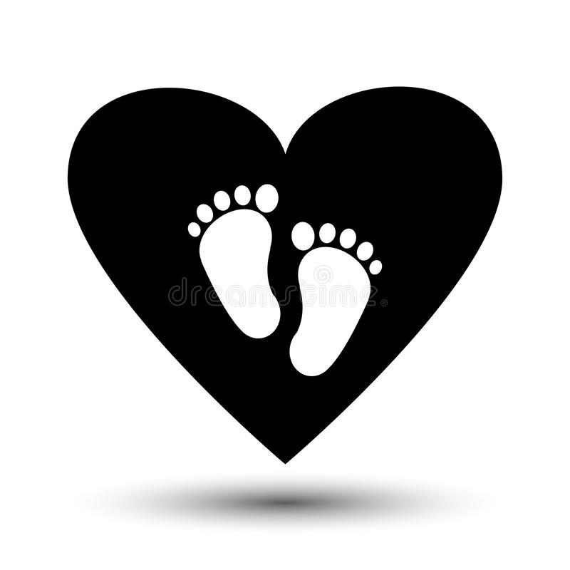Symbol of pregnancy or childbirth. White baby footprints in black heart. Vector. Illustration stock illustration