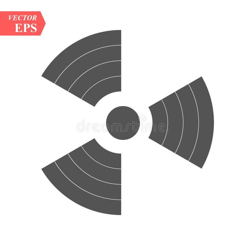 Symbol promieniotwórczy kontaminowanie z głównymi atrakcjami na czarnym tle, niebezpieczeństwo ilustracja wektor