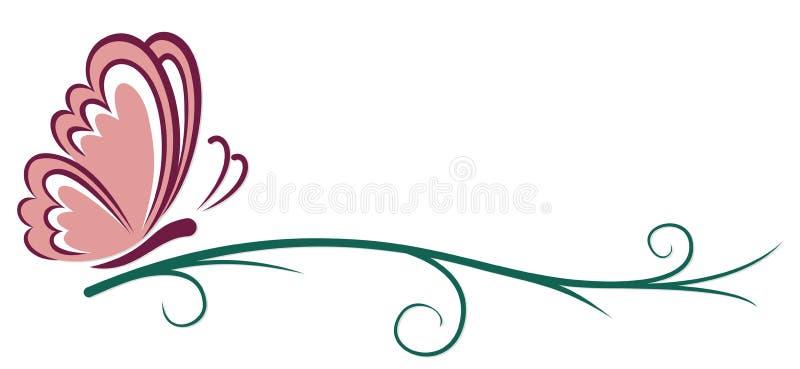 Symbol różowy motyl ilustracja wektor